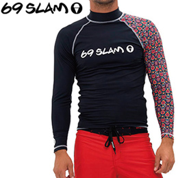 【69SLAM】RASH VEST LONG SLEEVES [FLOWER SKULL]