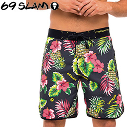 【69SLAM】Mens BOARDSHORTS MEDIUM [LEILANI BLACK]