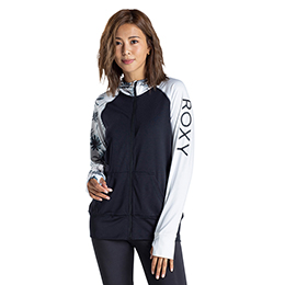 【ROXY】ラッシュパーカー UVカット PALM SHADOW PARKA [BLK]